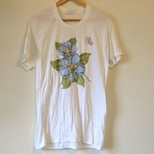 Vintage 90s hand painted flower butterfly shirt
